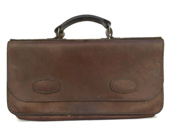 Vintage Leather Portfolio Briefcase. French Attache Case with Top Handle. Document Holder Pouch. Organizer Leather Bag. Gift for Men.