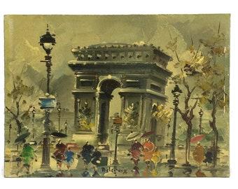 Vintage Arc de Triomphe Paris Painting.