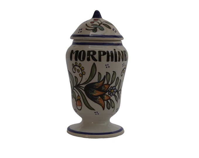 French Morphine Apothecary Jar, Hand Painted Georges Martel Rouen Pottery Pharmacy Bottle