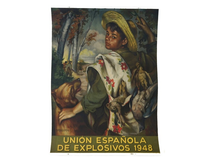 Francisco Ribera Gomez Art Print Poster, Boy Hunter Portrait with Spanish Advertising