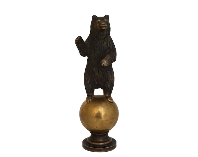 Russian Bronze Bear Figurine Paperweight and Letter Wax Seal Stamp, Desk Accessory and Office Decor