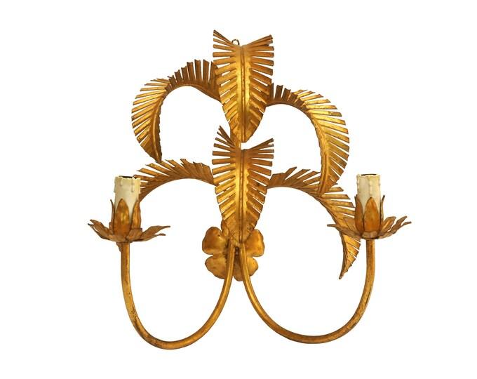 Gold Tole Palm Leaf Wall Sconce Light Fixture, Vintage Hollywood Regency Toleware Candelabra