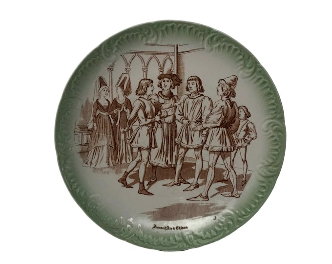 Antique Saint Joan of Arc French Transferware Plate, Jeanne D'Arc Home Wall Decor