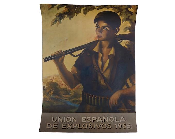 Domingo Huetos Art Print Poster, Boy Hunter Portrait with Spanish Advertising