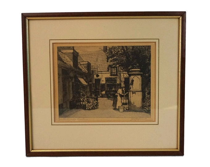Antique Dutch Courtyard Art Etching by Johannes Josseaud, Framed and Signed Print