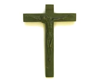 Art Deco Bronze Wall Hanging Crucifix. French Vintage Corpus Christi. Christian Art. Religious Cross Gift.