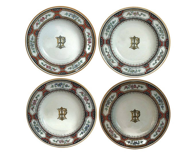 Antique Minton China Soup Bowls in Chinese Key Pattern with Monogram Initials H P, Set of 4 Transferware Plates