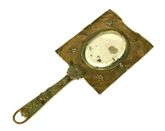 Antique Bronze Hand Mirror. French Vanity Beveled Mirror. Art and Craft Looking Glass. Makeup mirror. Boudoir Decor.