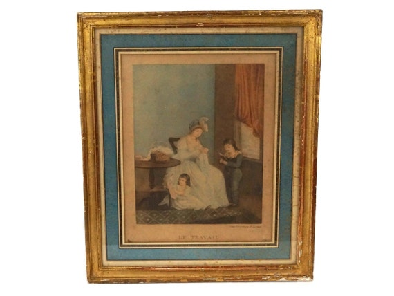 Antique French Romantic Framed Print, Mother and Child Stipple Engraving, Le Travail by Augustin Legrand