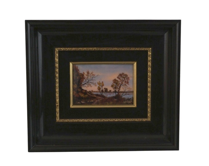 Hand Painted French Limoges Enamel Wall Art with Lakeside, Trees and Pathway by Jean Betourne