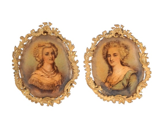 Antique French Miniature Gilt Frames Pair, Louis XV Style Decor with Lady Portrait Prints