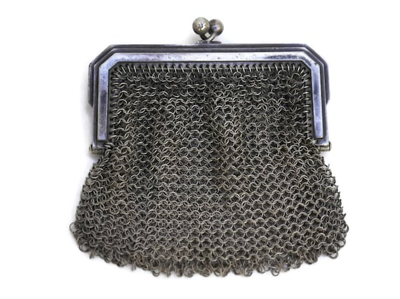 Art Deco Silver Mesh Purse, Antique Silver Chainmaille Coin Pouch, Gift for Her