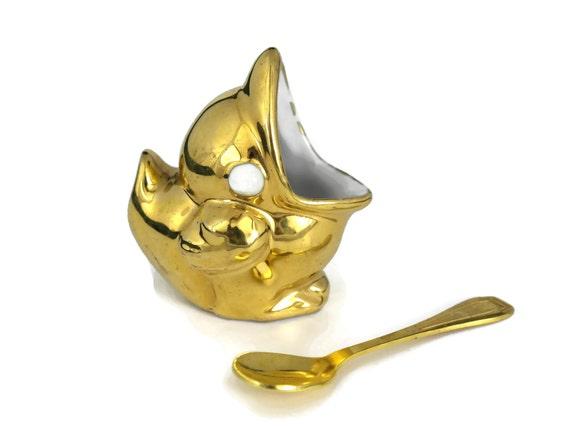 Gold Porcelain Bird Figure Salt Cellar. Vintage Robj French Porcelain Open Salt with Gold Spoon.