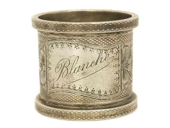 Antique Silver Plated Napkin Ring Engraved Blanche.