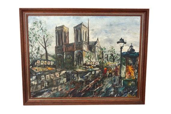 Notre Dame de Paris Painting with Street Scene and Book Seller Market, Original French Souvenir Art