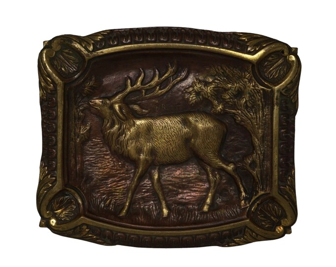 Bronze Ashtray with Stag Figurine, Coin Dish with Deer and Woodland Decor