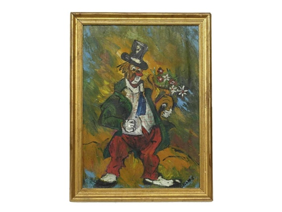 Mid Century Clown Oil Painting, Kids Room Signed Circus Wall art
