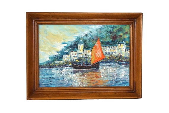 Sailing Boat and French Mediterranean Coastal Painting, Original Framed and Signed Seascape Art