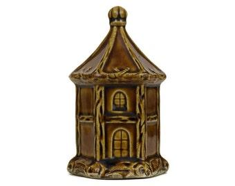 Antique Ceramic House Money Box. French Majolica Coin Bank. Saint Uze Savings Bank. Piggy Bank Collectible.