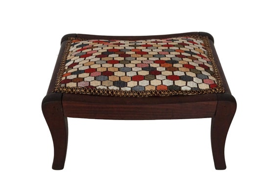 Antique Wood French Footstool with Geometric Tapestry, Wooden Foot Rest