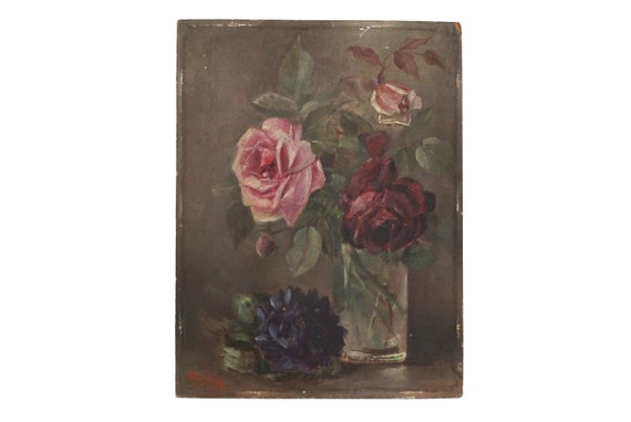 RESERVED for Amanda. Victorian Flowers Still Life Painting with Roses in Vase and Violet Bouquet, Antique French Art