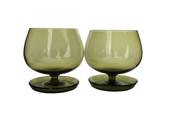 Green Crystal Brandy Snifter Glasses Pair, Mid Century Barware Set