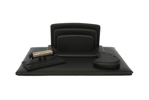 Le Tanneur Leather Desk Organizer Set with Letter Holder, Perpetual Calendar, Writing Pad and Pen Holder