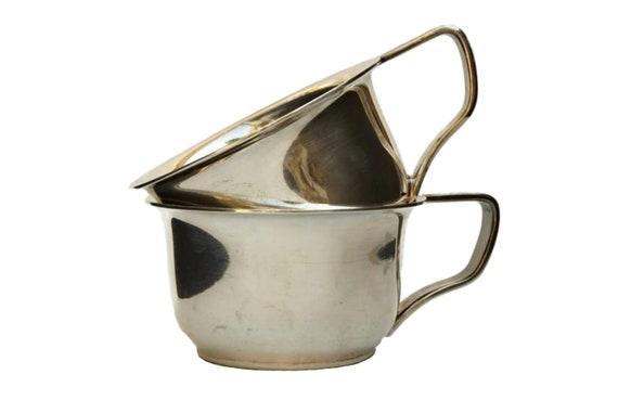 Art Krupp Berndorf Soup Cups, Antique German Silver Plated Coffee Mugs