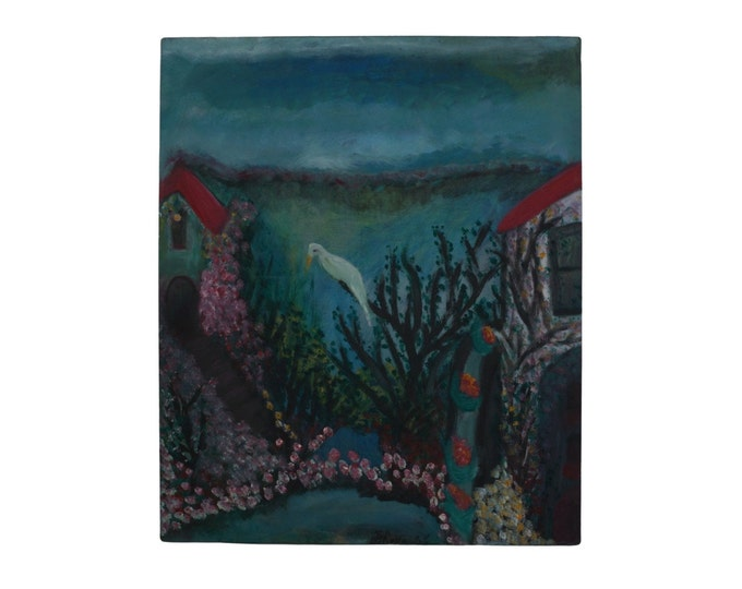 Modernist Landscape Painting with Bird and House and Cottage, Original Vintage French Art