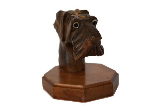 Art Deco Figurine Pencil Holder, French Antique Hand Carved Wood Terrier