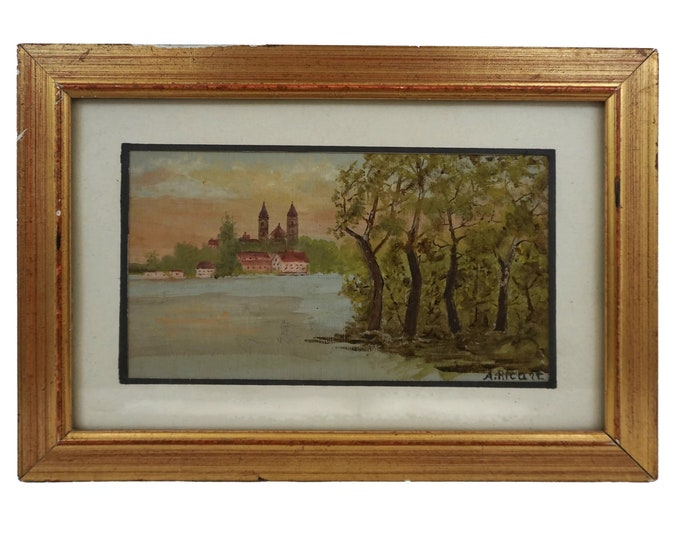 Antique French Landscape Painting with Church and River, Framed Original Signed Art