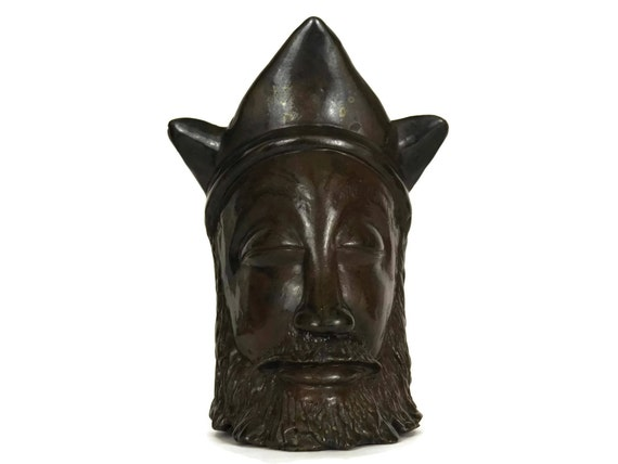 Head of King Wearing Crown. Vintage French Mid Century Art Pottery.  Man Portrait Sculpture. Gift for Him.