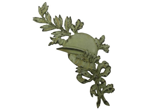 French WW1 Soldier Grave Marker, Large Bronze Military Plaque with Army Helmet and Laurel Leaves