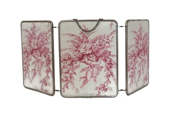 Antique Folding Mirror with French Toile De Jouy Cherub Fabric, Tri Fold Triptych Travel Mirror, French Boudoir & Vanity Decor