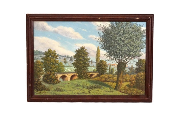 French Country Summer Landscape with Sheep Painting, Antique Original Signed Art