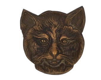 Brass Cat Face Ring Dish, Vintage French Jewelry Tray