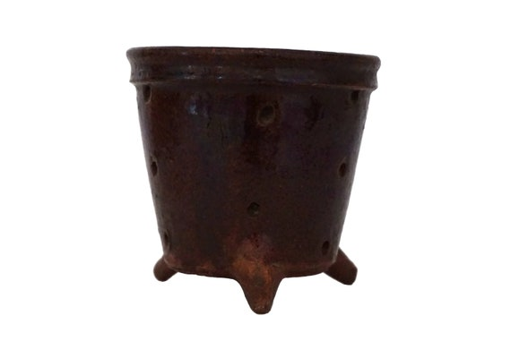 Antique French Stoneware Cheese Mold, Homemade Cheese Making Pottery Strainer