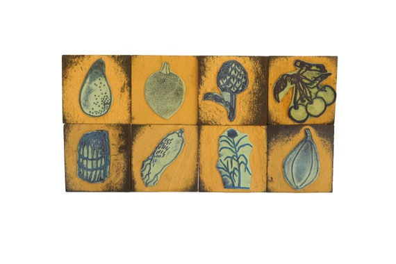Vegetable Stamp Wood Print Block Set, French Plant Kids Craft Printing Gifts