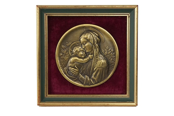 Botticelli Madonna and Child Portrait, Christian Wall Hanging Mary and Jesus Medal