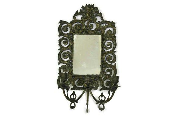 Antique French Mirror with Candle Sconces, Bronze Wall Candleholders