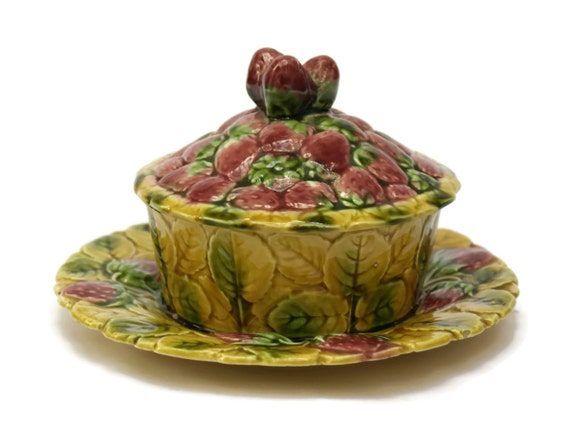 Vintage Majolica Strawberry Jam Pot