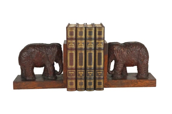 Art Deco Carved Wood Elephant Bookends