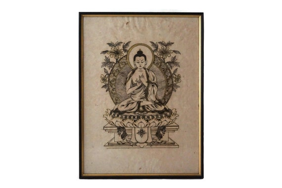 Buddha Portrait Art Print by T Muni, Vintage Asian Spiritual and Buddhist Home Wall Decor
