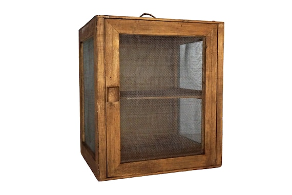 French Cheese Larder and Food Safe, Rustic Kitchen Egg Holder Cupboard