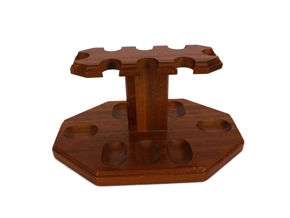 Vintage Wooden Pipe Rack, 8 Pipes Holder Stand, Gift for Smoker