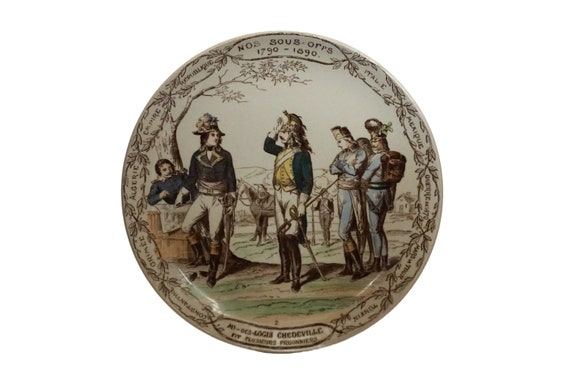 Antique French Military Plate by Creil & Montereau, Collectible Ceramic Transferware Wall Decor