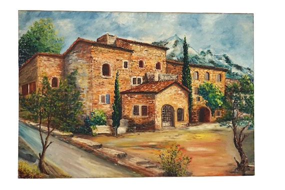 French Farmhouse and Mountain Landscape Painting, Country Home Wall Art