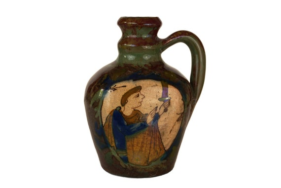 Louis Desmant Art Pottery Jug, Antique French Gloss Luster Ceramic, Bayeux Tapestry, Medieval Decor