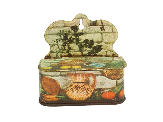 Rustic French Match Box, Vintage Country Kitchen Decor