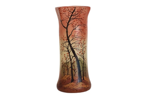 Hand Painted Art Glass Vase with Trees, Antique French